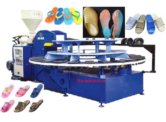 Dây chuyền sản xuất dép nhựa dép xốp, 24 trạm tự động năng suất 120-200 đôi/giờ
