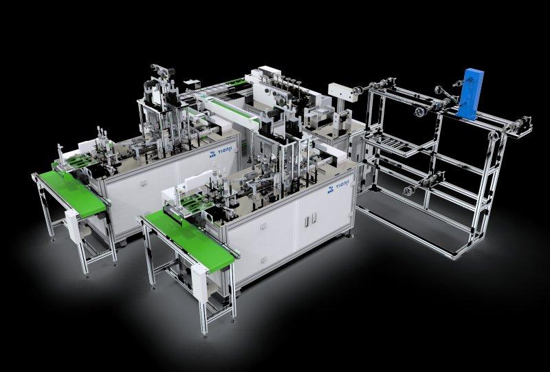 Dây chuyền sản xuất khẩu trang y tế ba lớp bốn lớp hai đầu ra năng suất 100-120 sản phẩm/phút