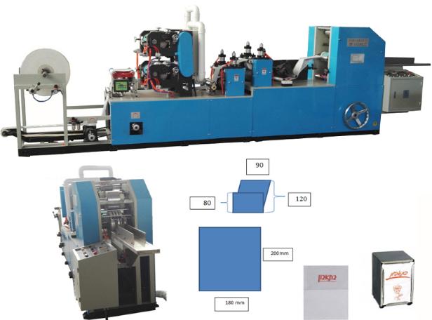 Máy gấp giấy napkin chân gấp năng in màu năng suất 450-610pcs / min
