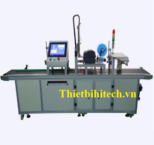 Máy dán nhán nhãn kết hợp in nhãn tự động kích thước lớn, Năng suất máy 30-80 sản phẩm/phút